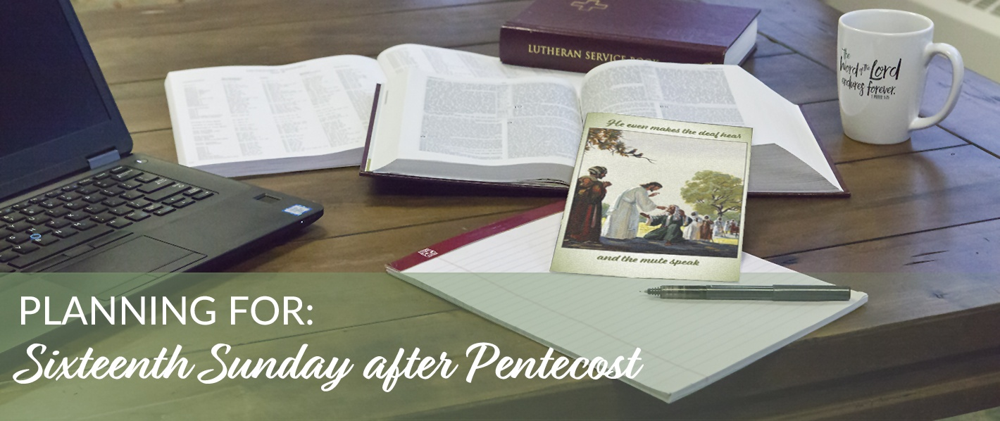 Planning for the Sixteenth Sunday after Pentecost